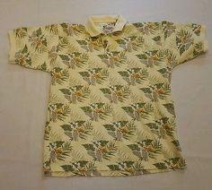 HUGE BACK TO SCHOOL SALE!  Men's World Wide Sportsman Floral Hawaiian Fishing Polo XL Yellow Textured #167