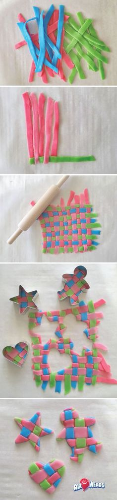 Need an activity for a cold, fall day? Weave together strips of Airheads and cut out your favorite shapes for this super easy, fun, and kid-friendly candy craft. Use flavors like strawberry, green apple, blue raspberry, and pink lemonade to get an array of beautiful colors!: