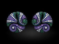 """""""Enchanting Ocean Earrings"""", 18k white gold, titanium, diamond, emerald, (purple) sapphire en amethyst earrings by Carnet (2013/2014)."""