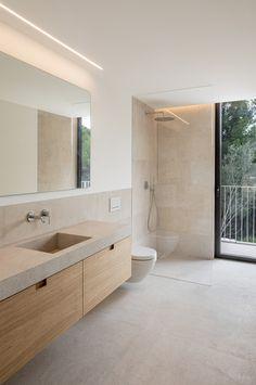 Interior design project at Mallorca by interiorism studio Jorge Bibiloni Studio. AS House Read Bathroom Renos, Laundry In Bathroom, Bathroom Renovations, Bathroom Layout, Small Bathroom, Earthy Bathroom, Stone Bathroom, Bathroom Ideas, Bathroom Design Luxury