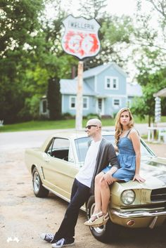 Gorgeous vintage mustang engagement photo from Paper Antler! Car Engagement Photos, Prenup Photos Ideas, Car Poses, Vintage Mustang, Couple Aesthetic, Couple Photography, Event Photography, How To Pose, Couple Shoot
