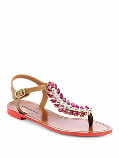 Dolce & Gabbana Feather Jeweled T-Strap Sandals