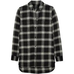 Madewell Ex-Boyfriend plaid cotton-flannel shirt found on Polyvore featuring tops, shirts, black, flannel, boyfriend flannel shirt, loose shirts, long plaid boyfriend shirt, boyfriend shirt and tartan flannel shirt