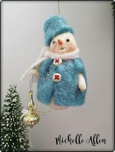 SWEET Folk Art primitive Paper Clay handmade Snowman girl doll n blue Ornament…