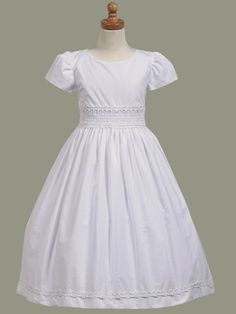 Lito Girls White Cotton LDS Baptism Dress with Smocked Waistband - SP108 - Maylee's Boutique
