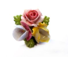 Vintage Porcelain Brooch, Ceramic China Flower Pin, Costume Jewelry