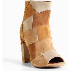 Torrid Faux Suede Patchwork Heel Booties (Wide Width) ($44) ❤ liked on Polyvore featuring shoes, boots, ankle booties, wide width booties, patchwork boots, wide width boots, peep toe boots and high heel peep toe booties