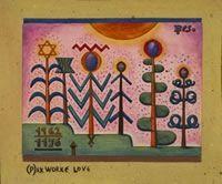 Xul Solar, pintor Argentino.Título de la obra: Pax, Worke, Love, 1962 Medidas: 17 x 23 cm Técnica: Témpera sobre papel