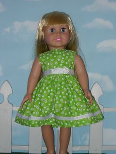 American Girl 18 inch Doll Dress Handmade by yourpatternplace. , via Etsy.