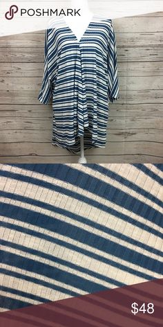 LuLaRoe Large Lindsay Kimono New With Tags Kimono wrap cover up Cardigan Dress up an outfit or cover a swimsuit use as lingerie  Size Medium (10-18) Blue and white woven ribbed No material content tag on garment LuLaRoe Sweaters Cardigans