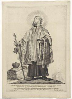 Cornelis Visscher (II) | H. Odulphus van Brabant, Cornelis Visscher (II), Pieter Claesz. Soutman, unknown, 1650 | De heilige Odulphus afgebeeld als een kanunnik met tuniek, albe en een doopschaal. Op de grond ligt een brevier en zijn bonnet. In zijn hand een staf, waaraan het wastafelje hangt waarop hij zijn bekeerlingen noteerde. Deze prent maakt deel uit van een reeks Nederlandse heiligen.