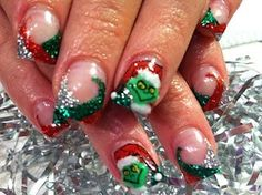 The grinch nail art these r amazing I so wanna try and paint the grinch on my nails this Xmas