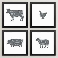 Hey, I found this really awesome Etsy listing at https://www.etsy.com/listing/286309125/set-of-4-butcher-prints-butcher-poster