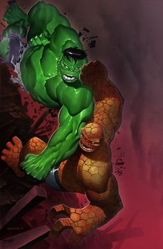 #Hulk #Fan #Art. (Hulk vs Thing. Color) By: SplashColors. (THE * 3 * STÅR * ÅWARD OF: AW YEAH, IT'S MAJOR ÅWESOMENESS!!!™) [THANK U 4 PINNING!!!<·><]<©>ÅÅÅ+(OB4E)