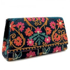 Floral Embroidered Clutch - Black, $60