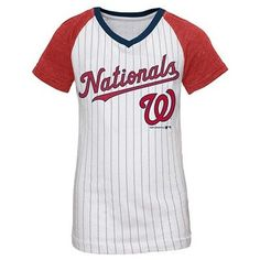 Washington Nationals Girls' Daniel Murphy Pinstripe T-Shirt Jersey - White XS, Multicolored White