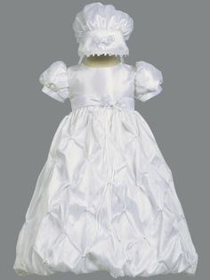 The Beverly taffeta Baptismal gown has a pinch gathered bubble skirt. Dress has a high waistband and attached sash with ribbon bow and flower that ties in the back.