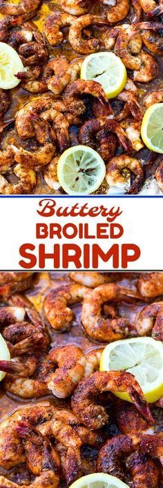 Buttery Broiled Shrimp can be made in just minutes and will disappear even faster. Coated in herbs and spices, lemon juice, Worcestershire sauce, and butter, these Broiled Shrimp work as a party appetizer or main dish. Shrimp Appetizers, Shrimp Dishes, Shrimp Recipes, Fish Recipes, Appetizer Recipes, Party Appetizers, Salmon Recipes, Recipies, Enchiladas