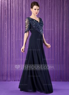 A-Line/Princess V-neck Floor-Length Ruffle Beading Sequins Zipper Up at Side Sleeves 1/2 Sleeves 2014 Dark Navy Spring Summer Fall General Plus Chiffon Mother of the Bride Dress