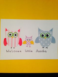 """""""Welcome baby"""" - greeting card """"owls"""" Welcome Baby, Owls, Greeting Cards, Handmade, Art, Art Background, Hand Made, Kunst, Owl"""