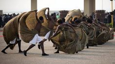 Dancers perform at Independence Square in Ghana's capital, Accra, ahead of President John Mahama's inauguration ceremony on Monday. The opposition boycotted the event, alleging that Mr Mahama's narrow victory in last month's election was rigged.