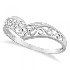 chevron v shaped filigree ring | Details about 0.05ct Antique Style Chevron V shaped Diamond Filigree ...