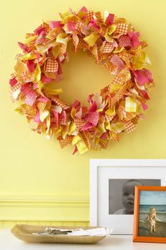 Fabric Scrap Wreath Tutorial: Use fall-colored scraps of fabric in alternating patterns to create this fun wreath.