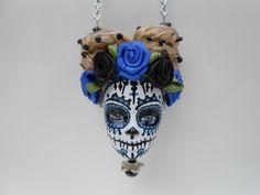 """Sautoir tête de Barbie crâne mexicain """"L'électrique"""" : Collier par jennifleur"""