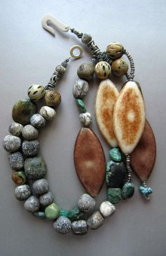paddle designer beads with african trading beads by SARAGAYART.com