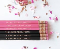 YOUR LIKE REALLY PRETTY.  The latest release in the new #pencil sets in the @Sugarluxeshop!!! Available in coral pink hot pink blush pink and black for your home #office or any writing that needs a touch of glam! These  #pencils are engraved with gold.  Want them to say something else? We do customs as well!  #blush #blushpink #goldfoil #pinkpencil #desk #champagnequotes #moet #moetchandon #homeoffice #champagneisalwaystheanswer #glam #weddinggift #workspace #bridesmaidgift #partyfavors…