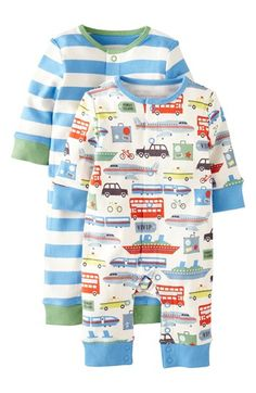 Mini Boden Print Romper (2-Pack) (Baby Boys) available at #Nordstrom