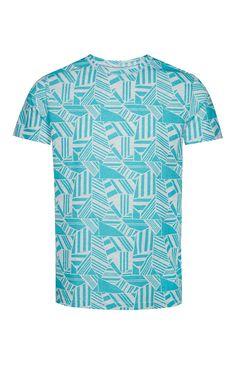Aqua Geo Texture Print T-Shirt