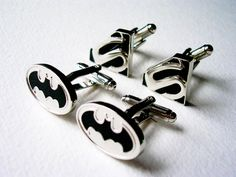 LondonDesign - Batman and Superman 2 pairs of Cuff Links - stainless steel
