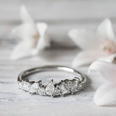 Our gorgeous Icicle diamond ring will soon be available in larger diamonds for a bolder look or engagement band. Stay tuned!!!#grewandco#iciclediamondbands#mixedshapes#stackingring#weddingrings