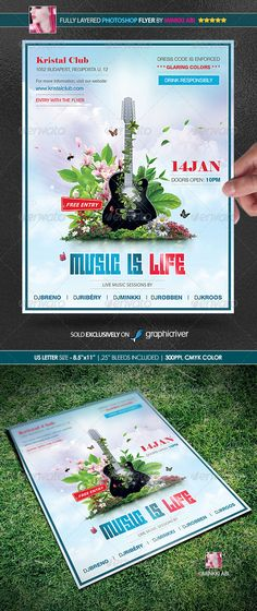Music Is Life Poster/Flyer — Photoshop PSD #summer festival #flowers • Available here → https://graphicriver.net/item/music-is-life-posterflyer/1217019?ref=pxcr