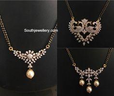 Black Beads Mangalsutra Chain Models with diamond pendants