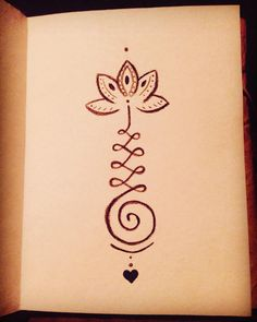 "25 Likes, 1 Comments - Danielle (@dasues) on Instagram: ""A unalome is the Buddhist symbol of the path to enlightenment.. #unalome #mydrawing #lotus"""