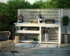 Kitchen models: 60 ideas for all styles - Home Fashion Trend Small Outdoor Kitchens, Outdoor Sinks, Diy Outdoor Kitchen, Outdoor Fire, Outdoor Spaces, Outdoor Living, Outdoor Decor, Pergola, Backyard Bar