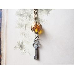 Vintage Key Necklace Vintage Assemblage Jewelry Autumn Woodland... ($42) ❤ liked on Polyvore featuring jewelry, necklaces, vintage jewellery, vintage jewelry, key necklace, vintage necklaces and vintage key necklace