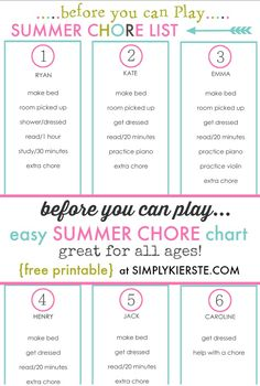 A before you can play chore list for summer! Before you can play summer chore chart Chore Chart Kids, Chore Charts, Chore List For Kids, Printable Chore Chart, Kids Schedule, Daily Schedules, Job Chart, Charts For Kids, Thing 1