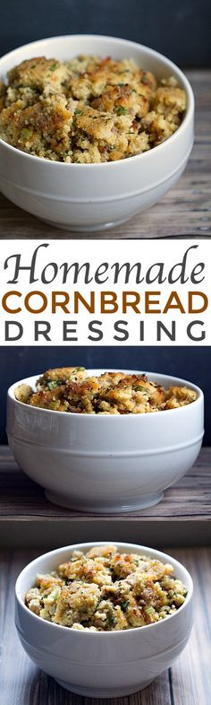 Homemade Cornbread Dressing is made with fresh cornbread, herbs and turkey sausage. My go to recipe for Thanksgiving dinner! | This Gal Cooks