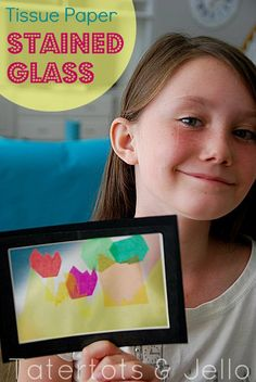 Tissue Paper Stained Glass kiwi crafting activity for kids.