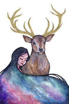 The source of my inspiration. Watercolours and gold ink for the antlers. What do you think?