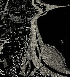 """""""Filaments of Light (Chicago)"""" by Yvonne Jacquette, 2000, Woodcut print on Japanese paper, 37 x 33 1/2 inches"""