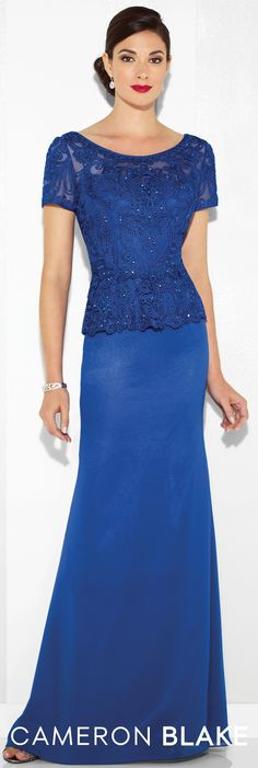Formal Evening Gowns by Mon Cheri - Spring 2017 - Style No. 117609 - royal blue evening dress with beaded ribbon work bodice with peplum