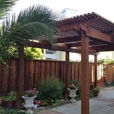 double gated fence with pergola - Google Search