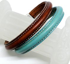 Items Similar To Sched Leather Stacking Bracelets Pair Turquoise And Luggage Brown Silver Sch Clasp On Etsy