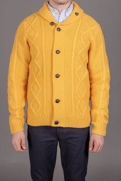 Farah The Draper Chunky Cable Cardigan with Shawl Collar Golden