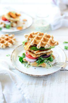 ... buckwheat waffles with halloumi and chimichurri ...