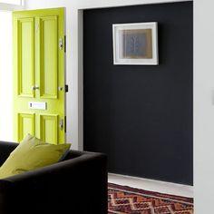 Acid green: love the door with the dark walls